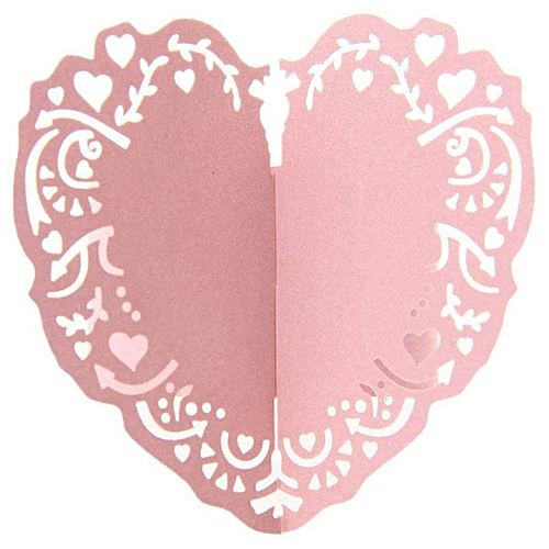 50pcs Round Ring Napkin Heart Paper Decoration Table For Wedding - Pink