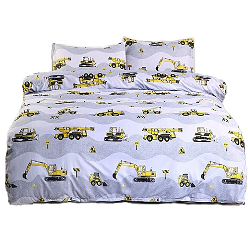 Excavator Printed Bedding Set Boy Duvet Cover Set 3 Piece Bedding Set(2Pcs Pillowcase+1Pc Duvet Cover)