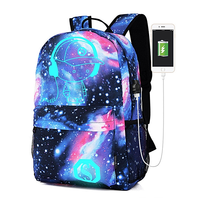 5e347e7200 Duanxinyv Galaxy School Bag Backpack Collection Canvas USB Charger For Teen  Girls Kids