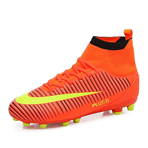 0a10106f9a74 Tauntte Men Football Shoes High Top Spike Soccer Shoes Cleat Boots (Orange)
