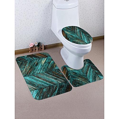 Vintage Wood Grain Print 3 Pcs Toilet Mat Set - Sea Green