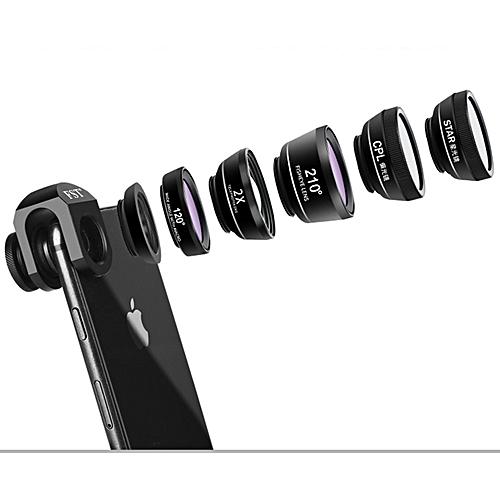 Kapel Cell Phone Camera Lens, 6 In 1 Fisheye+ Wide +Telephoto Lens + Macro Lens + CPL + Starburst