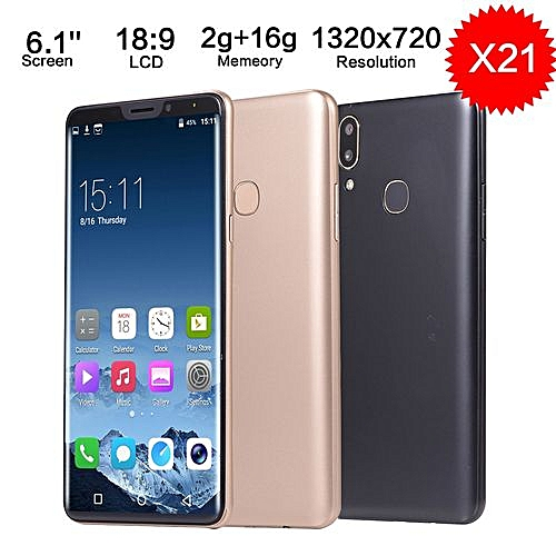 "X21 6.1"" HD 18:9 LCD Display 2G+16G 1320x720 Smartphone Mobile Phone Dual SIM-Gold"