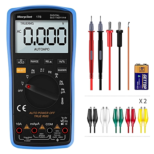 Multimeter,Morpilot 6000Counts Digital Ohmmeters DC/AC Voltage Current, Resistance, Frequency, Continuity, Capacitance,Diode,Temperature,3.0Inch Backlight Large LCD Display Power Equipment