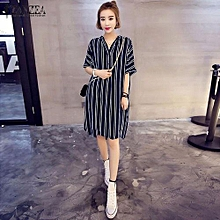 cf5542b80ae6 ZANZEA Women Dress V-Neck Short Sleeve Casual Loose Striped Shirt Dress  Mini Vestidos (