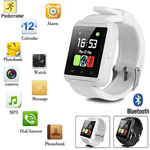 Bluetooth Smart Wrist Watch Phone Mate For IPhone Samsung IOS & Android White