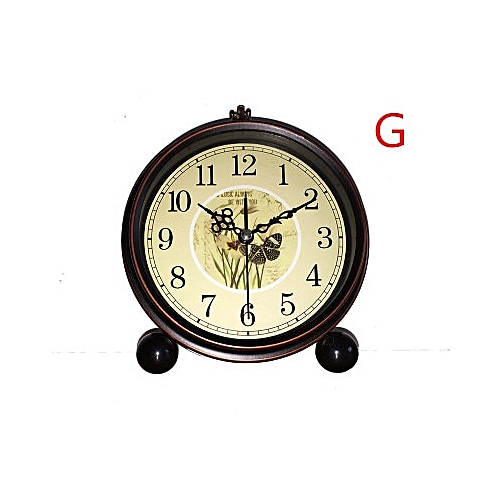 Creative Alarm Clock, Silent Character Bedside Table Clock, Wrought Iron Small Desk Clock, Clock Fashion Students.(G)
