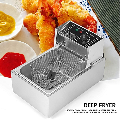 6L 2500W Commercial Stainless Steel Electric Deep Fryer With Basket 220V CN Plug