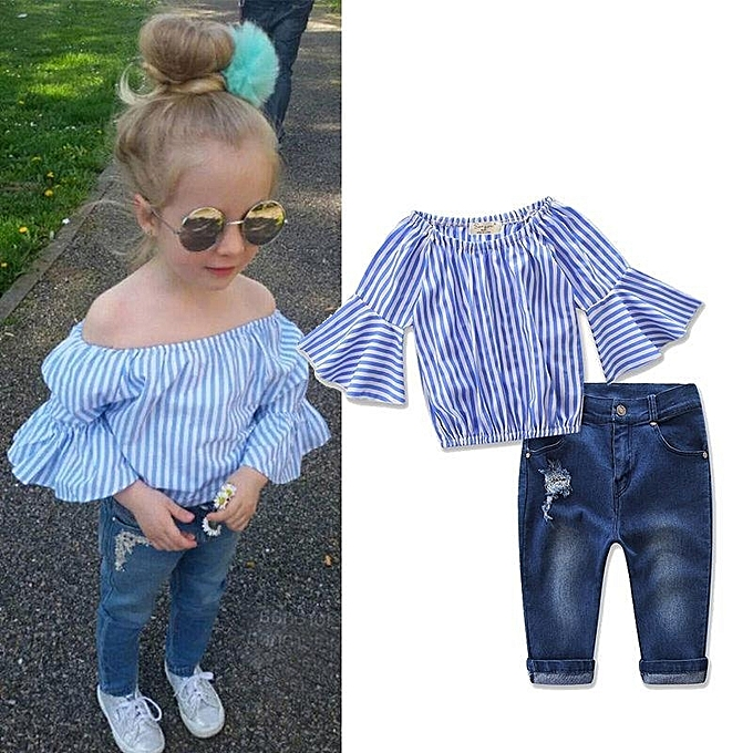 ff207b30c 2pcs Kids Baby Girls Outfits Set Tank Top T-shirt Dress+Jeans Pants Clothes