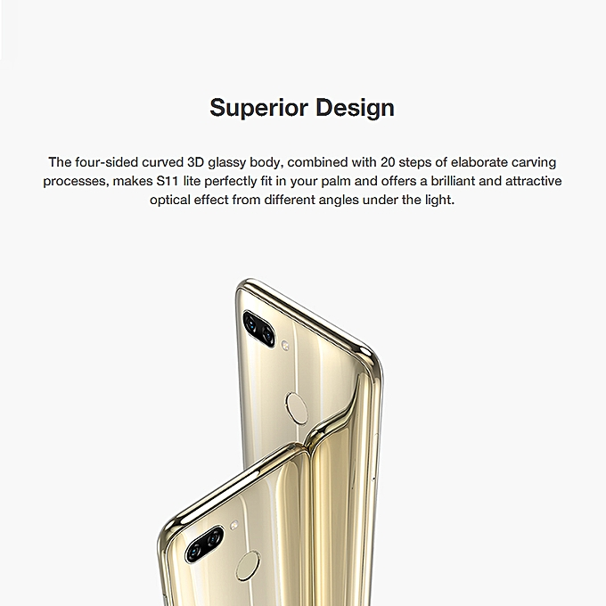 S11 Lite 5 7-Inch HD 18:9 Full Screen (4GB,32GB ROM) Android 7 1 Nougat,  (13MP + 2MP) + 16MP, Hybrid Dual SIM 4G LTE Fingerprint ID Smartphone - Gold