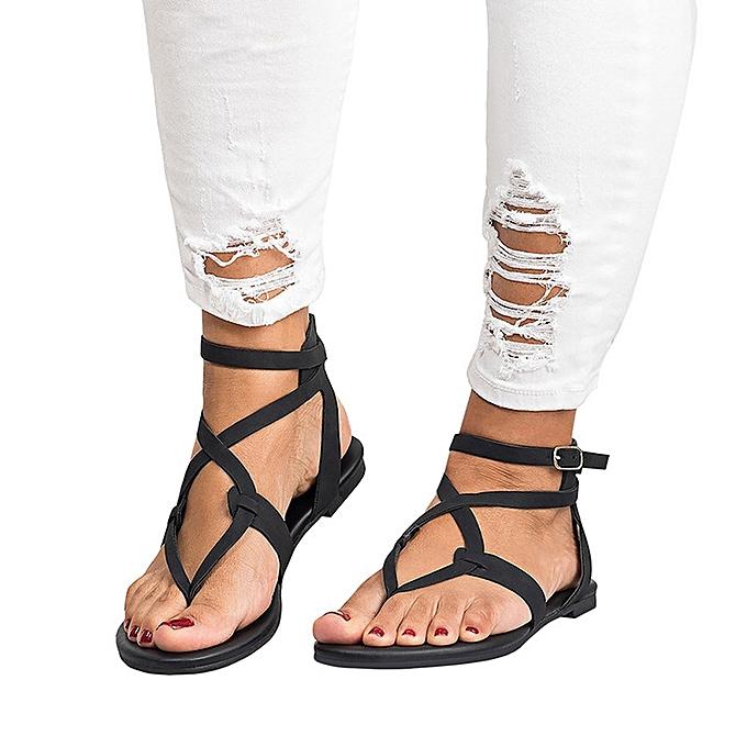 ddd79c6c6 Summer Women Ladies Sandals Cross Strap Flat Ankle Roman Cusual Shoes