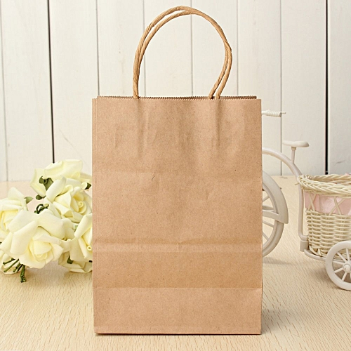 10pcs Kraft Brown Twisted Handle Shopping Gift Merchandise Paper Carrier Retail Bags Small Size