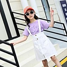 f17fa99fb8a Girl Fashion Letter Print Shirt+Suspender Skirt Short Sleeve