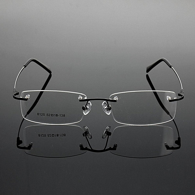 42f2b8cb39f2 Rimless Glasses Lightest Rx Optical Eyeglasses Memory Titanium Spectacles  Frame Black