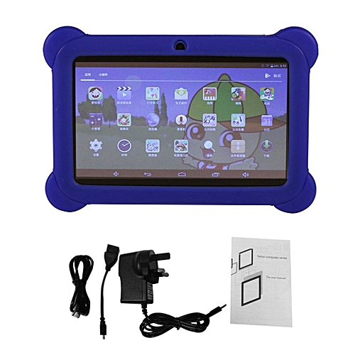 GB 7 Inch Children Kids Tablet Dual Camera With Cover For Android 4.4-blue