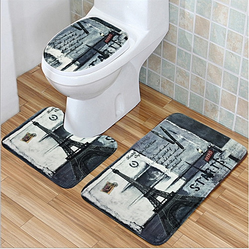 3Pcs Bathroom Eiffel Non-Slip Carpet Pedestal Rug + Lid Toilet Cover + Bath