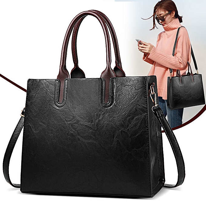 Fashion Ladies Causal Stylish Leather Handbag - Black