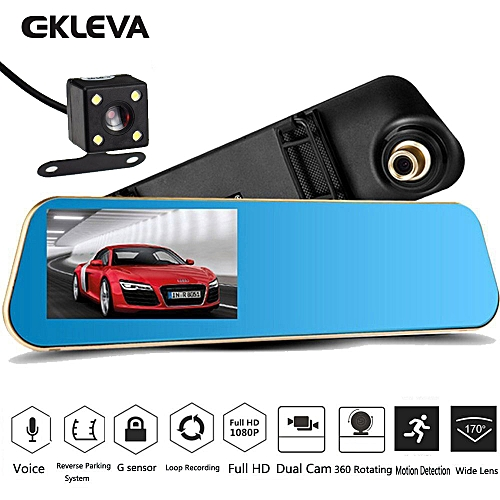 Generic Car Video Recorder Full HD 1080P Car Video Camera Dual Lens For Vehicles Front & Rearview Mirror Car DVR Dash Cam Reverse Parking System Rear Cam ...