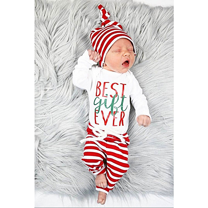1e7080530756 ... Baby Outfit Newborn Infant Baby Boy Girl Romper Tops+Striped Pants+Hat Christmas  Outfits ...