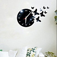 New 3D Wall Clock Sticker DIY Acrylic Butterfly Wall Clock Personality Wall Clock Modern Design Living Room Decoration For Home (black) for sale  Nigeria