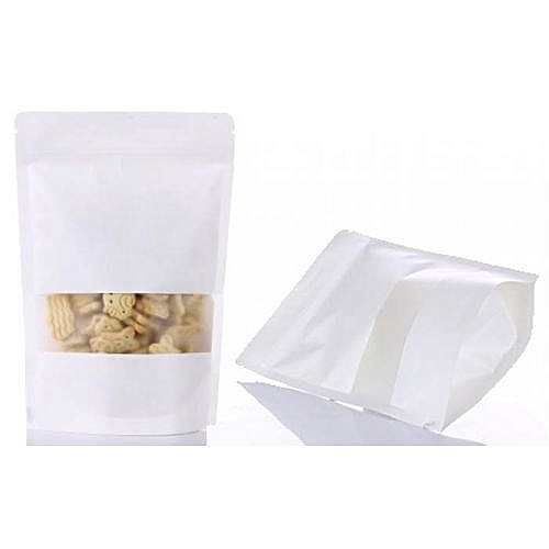 100pcs Resealable White Kraft Paper Stand Up Pouch
