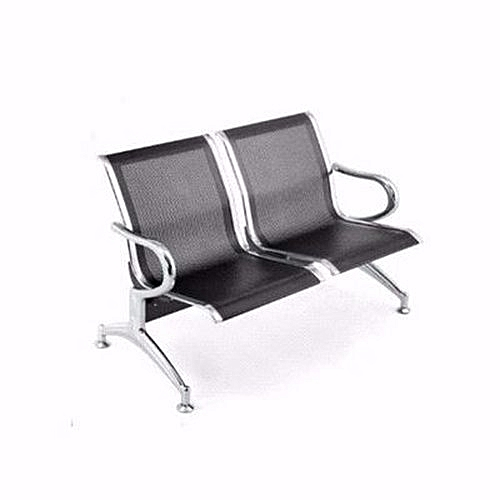 Office Reception Waiting Chair - 2-seater - Black