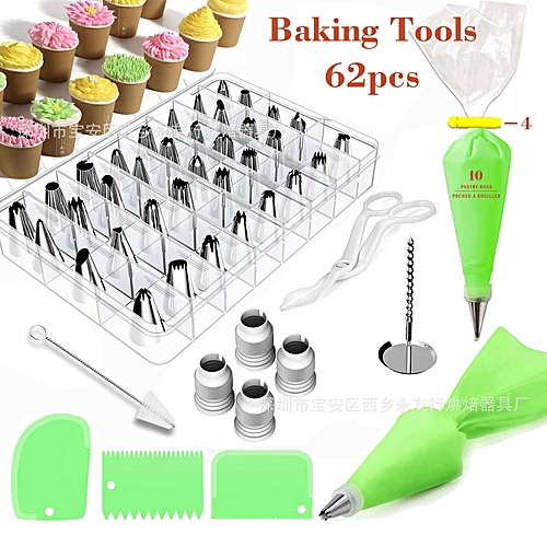 62 PCS Cake Decorating Cream And Fondant Tool Kit