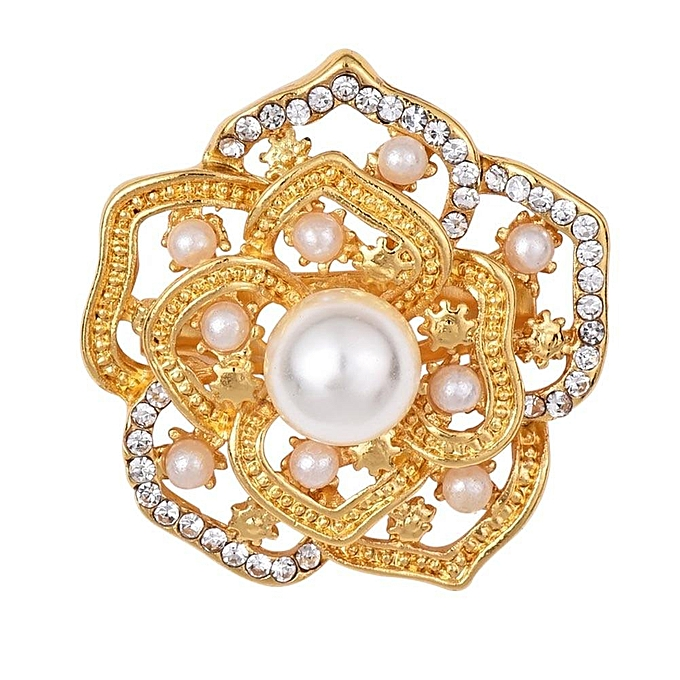 0de0a178240 Benhongszy Rhinestone Crystal Hollow Out Gold Color Brooches Pins Dress  Sweater Jewelry Romantic Simulated-pearl