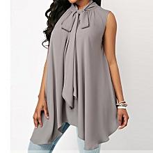 c916ef345738d Hiamok Fashion Women Sleeveless Solid Asymmetric Chiffon Tie Neck Tank Tops  Blouse Vest