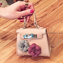 6d926cb903bd PU Leather Mini Handbag Flower Decoration Shoulder Bag Pink