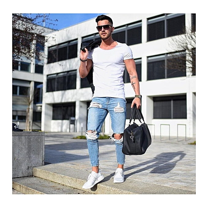 ae6c5ab3df5cf9 New Fashion Casual Slim Ripped Jeans For Men Jeans Skinny Hole Biker Jeans  Mens Jean Pants