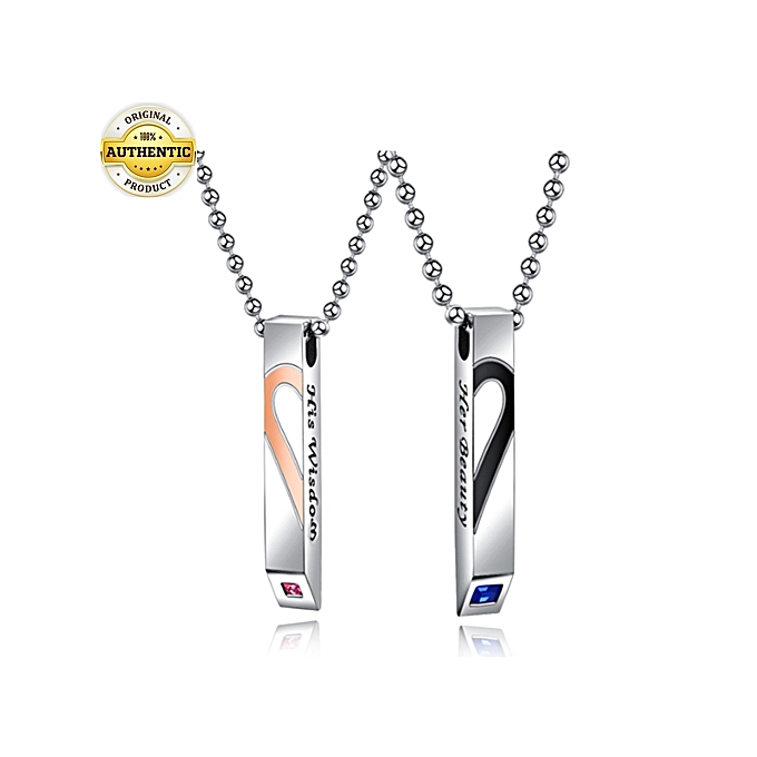 945be0c0eaca9 Top Quality 2 Pcs Set Couple Lovers Necklace Men And Women Necklace Chain  With Pendant Silver