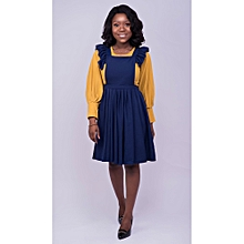 Navy Blue Pleated Skater Pinafore And Mustard Top 3df6a3f5e65