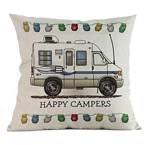 Fashion Happy Campers Cotton Linen Pillow Sofa Case Waist Throw Cushion Cover Home Decor