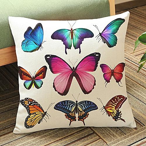 Fashion Butterfly Painting Linen Cushion Cover Throw Waist Pillow Case Sofa Home Decor A