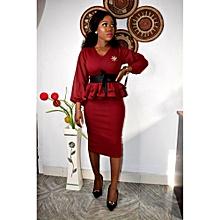 4f7aa2bc0f Wine Double Peplum Dress With Snatched Waist Belt