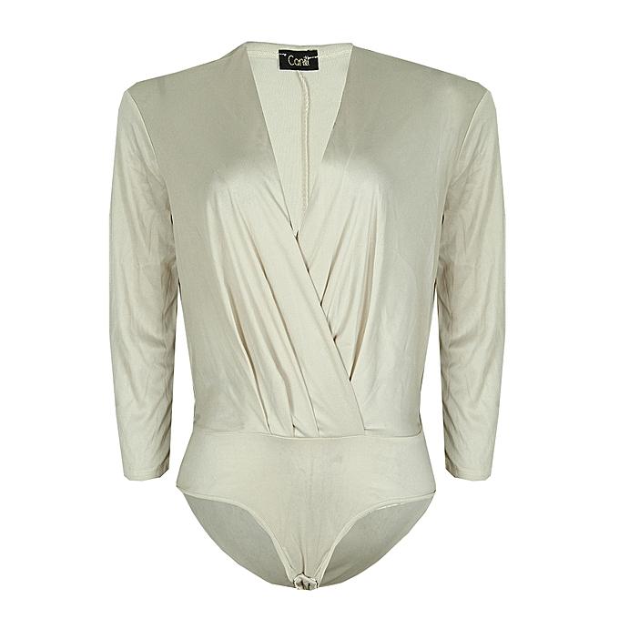 Canill Long Sleeve Drape Bodysuit Blouse  8ef2c9118