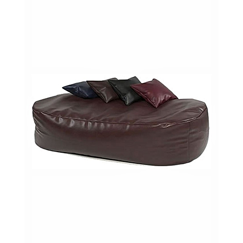Leather Lounger With 4 Coloured Pillows - Brown (Delivery To Lagos Only)
