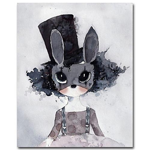 Cartoon Rabbit Canvas Art Painting Print Kids Room Nursery Home Decor 50x40cm