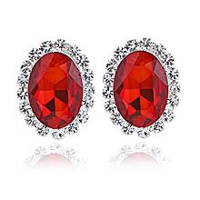 3196d4f917cd81 Luxury Red Big Crystal Oval Ear Stud Earrings For Women