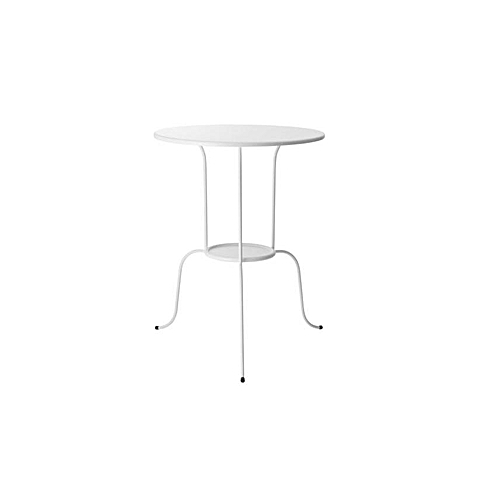 LINDVED Wrought Iron Side Table - White 68cm