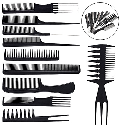 Hair Styling Comb Black Hairdressing Barber Salon Tool Set 10 Piece