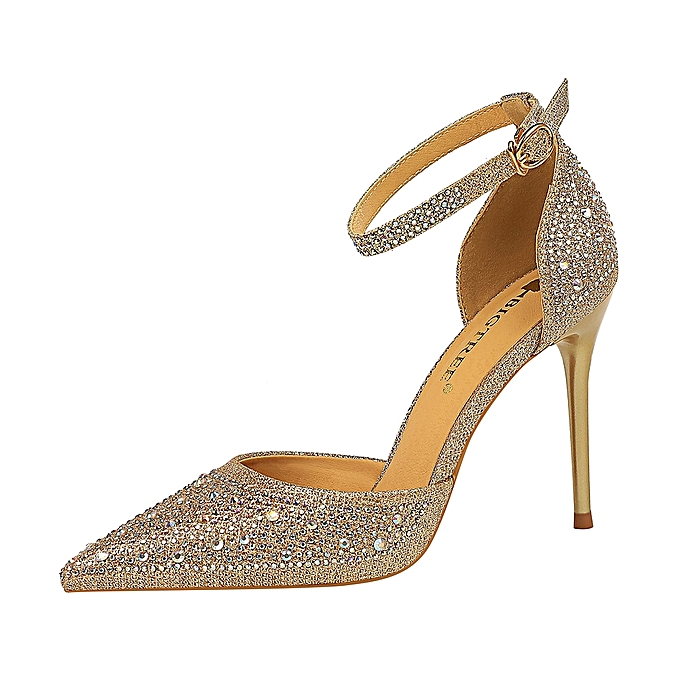 82cf565729aa Fashion Women High Heel Shoes Escarpin Party Crystal Party Wedding Shoes  Ladies Heeled Sandals-Champagne
