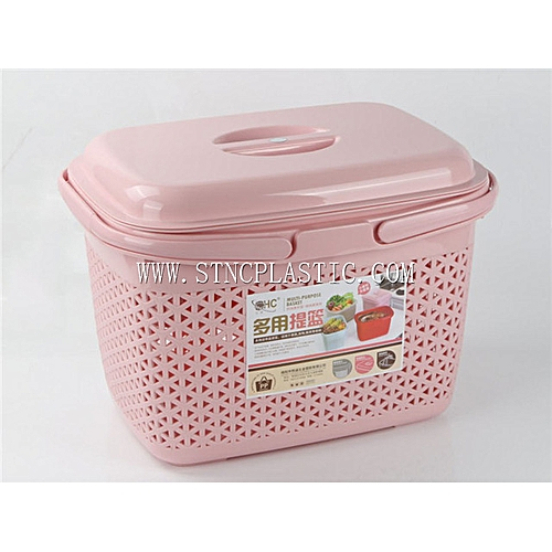 2 In 1 Big Multipurpose Basket With Cover, Pink