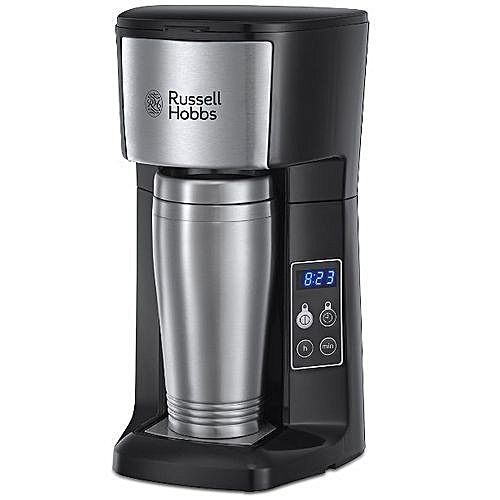 Exquisite Brew And Go Coffee Maker - 650W - 400ml Stainless Steel Travel Mug - With (Gift Inside); Programmable Timer; Permanent Filter For Improved Temperature And Coffee Extraction - By Russell Hobbs, UK