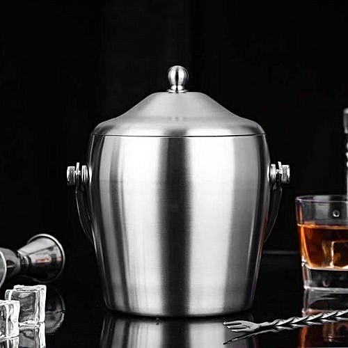 Double Wall Ice Bucket With Lid Insulation With Tong Insulated Stainless Steel...