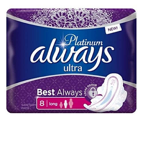 Always Platinum Ultra Sanitary Pad W/flexible Wings - 8 Pads