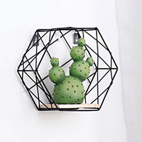 Hexagon Metal Wall Hanging Shelf Rack Storage Rack Holder Organizer Trellis Design