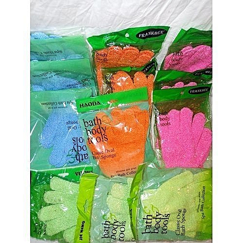 Glove Bath Sponge 12 Packs For Both Hands - Mixed Colours