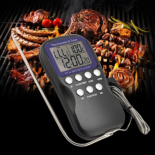 Digital Food Thermometer Wire Probe Timer Electronic Temperature Sensor For Barbecue Oven Meat